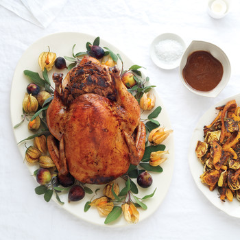 Roast Capon with Fig-and-Pancetta Stuffing