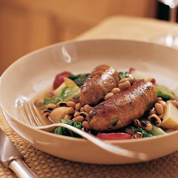 Black-Eyed Peas with Escarole, Potatoes, and Turkey Sausage