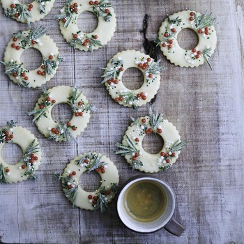 meyer-lemon shortbread wreath cookies