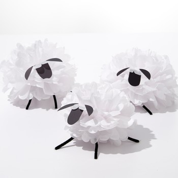 Tissue Paper Pom-Pom Sheep