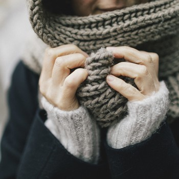 woman in a knit cowl
