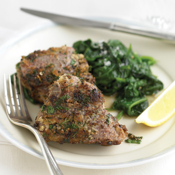Lamb Chops with Garlic-Parsley Crust and Sauteed Spinach