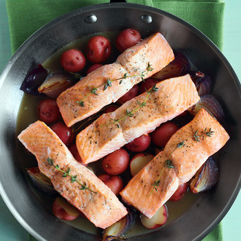 Salmon with Potatoes and Red Onions