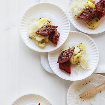 Kielbasa Bites with Grainy-Mustard Potato Salad