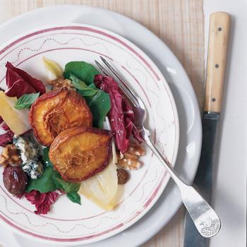 Dried-Peach Salad with Basil Oil