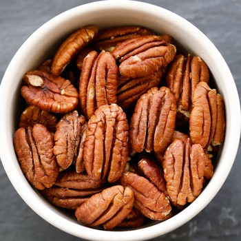 whole pecans in a bowl
