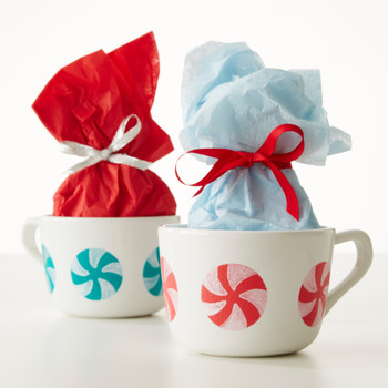 Painted Peppermints on Hot-Chocolate Mugs