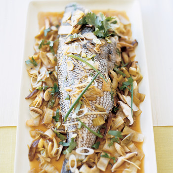 Chinese-Style Steamed Sea Bass with Vegetables