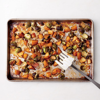 Maple-Roasted Brussels Sprouts and Rutabaga with Hazelnuts