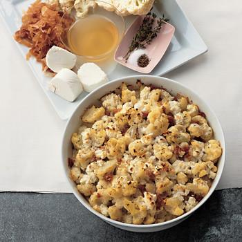 Cauliflower, Prosciutto, and Goat-Cheese Gratin