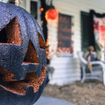 glittered pumpkin outdoor decor