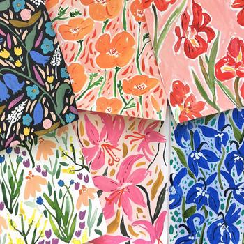 collage of juliet meeks floral paintings