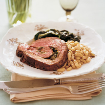 Mint and Pistachio Stuffed Leg of Lamb