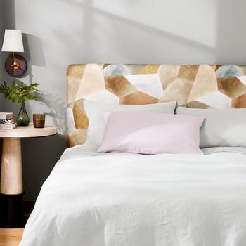 padded headboard in a bedroom