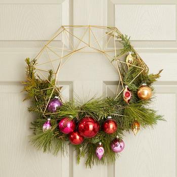winter holiday wreath on the door