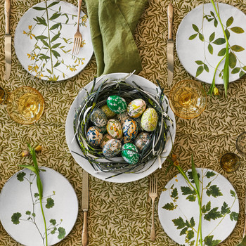 Easter table with botanical prints and patterns