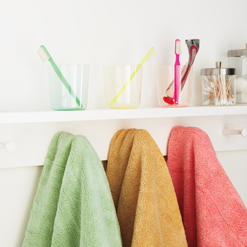 Bathroom Organizing: Color-Coded Kids' Stuff