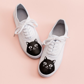 cricut cat white keds shoes