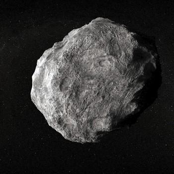 digital art asteroid in space