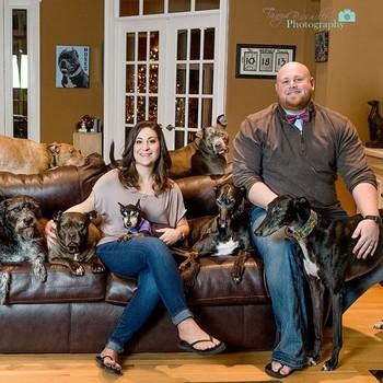 mega dog bed family portrait