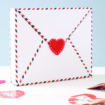 envelope valentine box with red heart