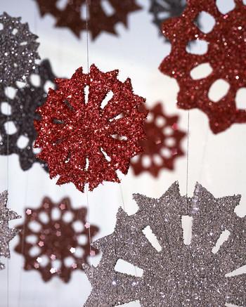Tinsel Snowflakes. Glittered ornaments ... - Glittered Christmas Ornaments Martha Stewart