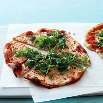 Roasted-Red-Pepper Pizzas with Arugula