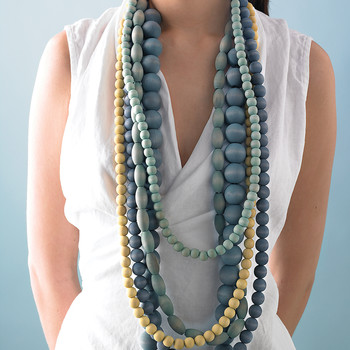 Dyed Wooden Beads Necklace