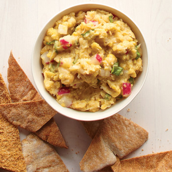 Smashed Chickpea, Basil, and Radish Dip with Pita Chips