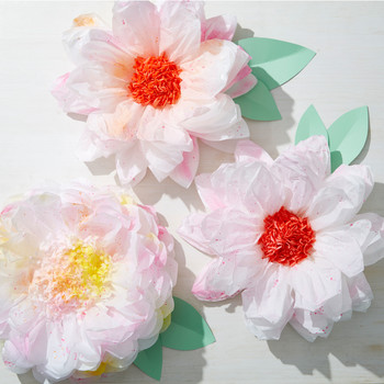 Splattered Tissue Paper Flowers