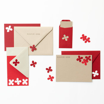 Red Hydrangea Punch Stationery Set
