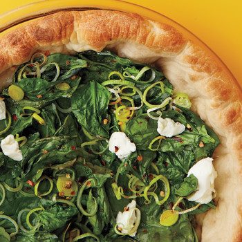 Deep-Dish Spinach and Leek Pizza