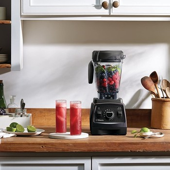 vitamix blender on counter with drinks