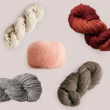 collage of warm knitting yarn