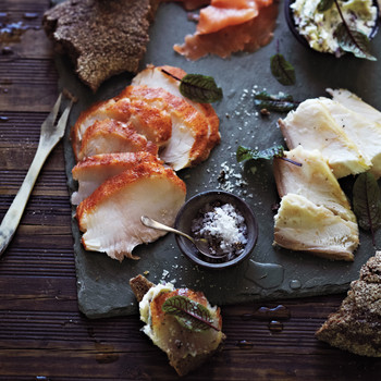 Smoked Fish with Juniper Salt and Sorrel-Red Onion Butter