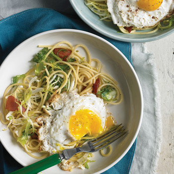 Spaghetti with Frisee and Fried Egg