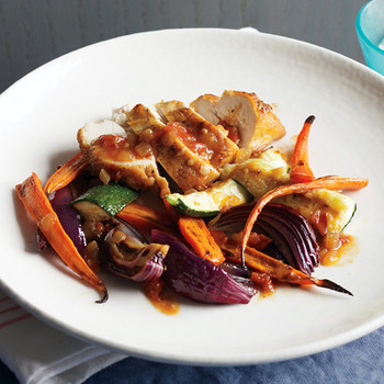Roast Chicken with Zucchini, Carrots, and Onions