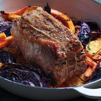 Roast Beef with Cabbage, Squash, and Carrots