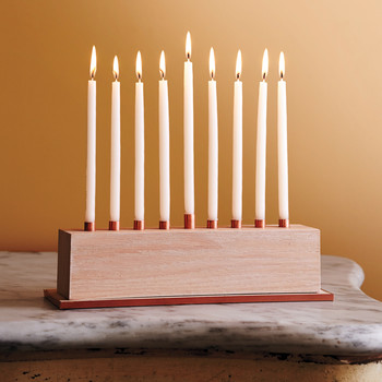 Red Oak Wooden-and-Copper Menorah