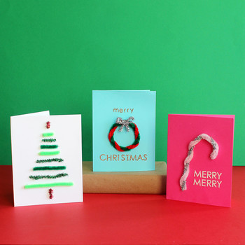 Christmas cards made with pipe cleaners
