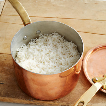 plain basmati rice copper pot