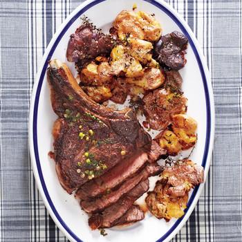 Seared Rib-Eye Steak with Smashed Potatoes