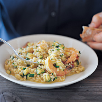 Yellow-Pepper Risotto with Shrimp and Zucchini