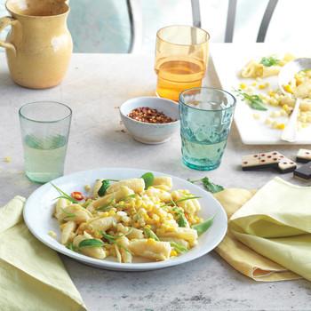 Campanelle with Corn, Scallions, and Arugula