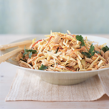 Chicken and Shredded-Cabbage Salad with Noodles and Peanut Sauce