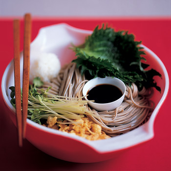 Japanese Salad with Shiso Leaves, Sake, and Soba Noodles