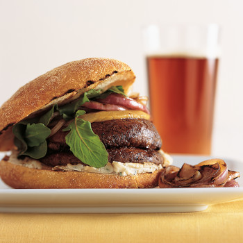 Grilled Mushroom Burger with White-Bean Puree