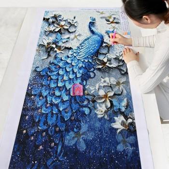 diamond painting artwork of a peacock