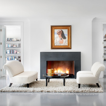shearling rug in living room