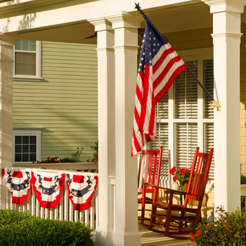 Summertime Front Porch with Patriotic Flags